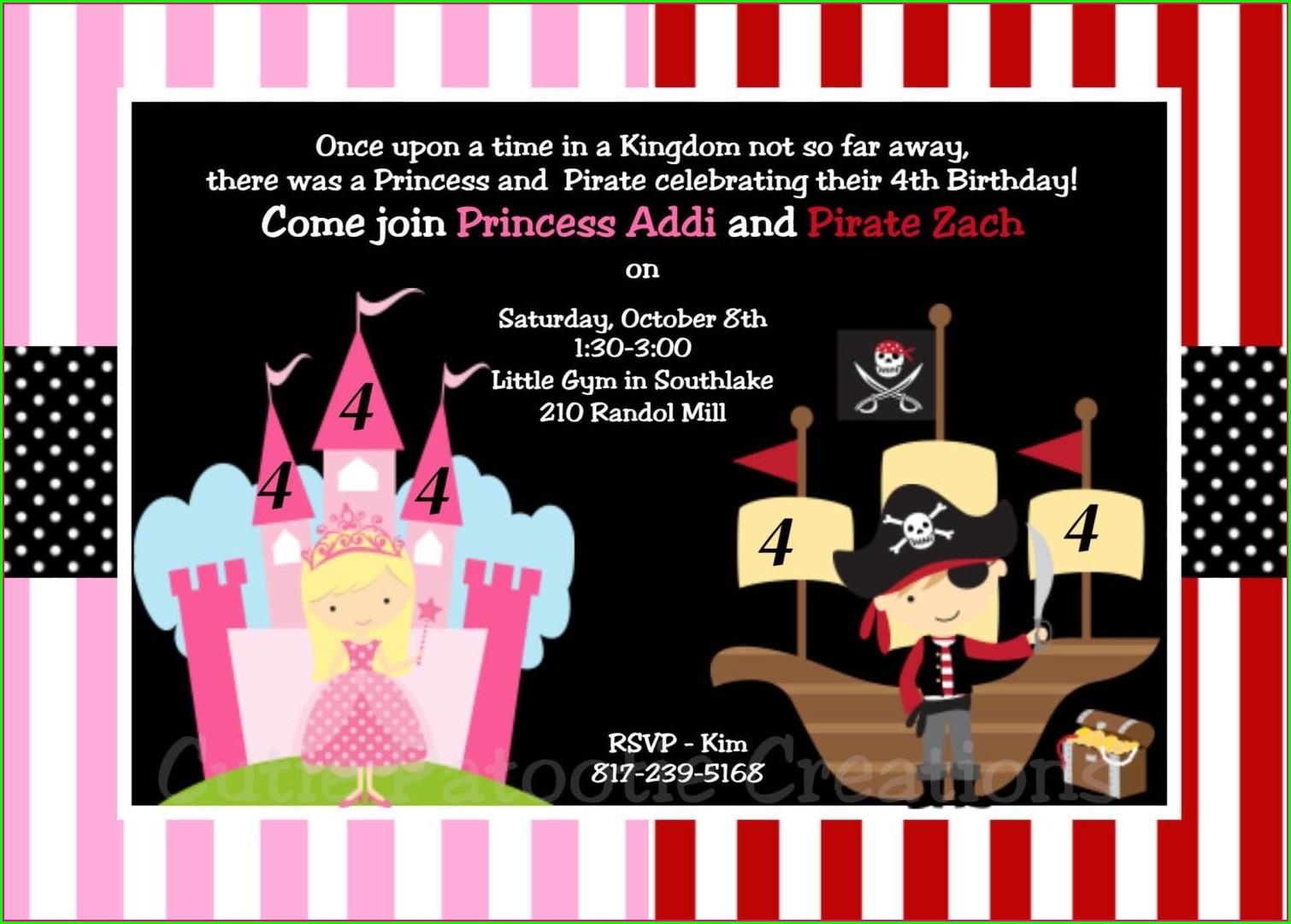 Princess And Pirate Invitation Template