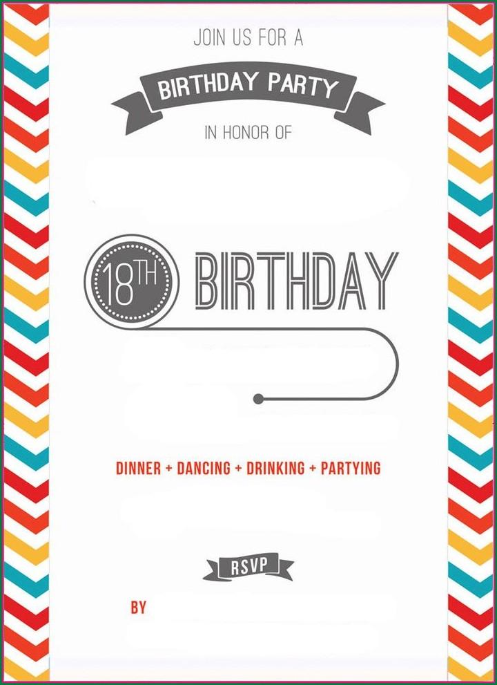 Printable 18th Birthday Invitation Template