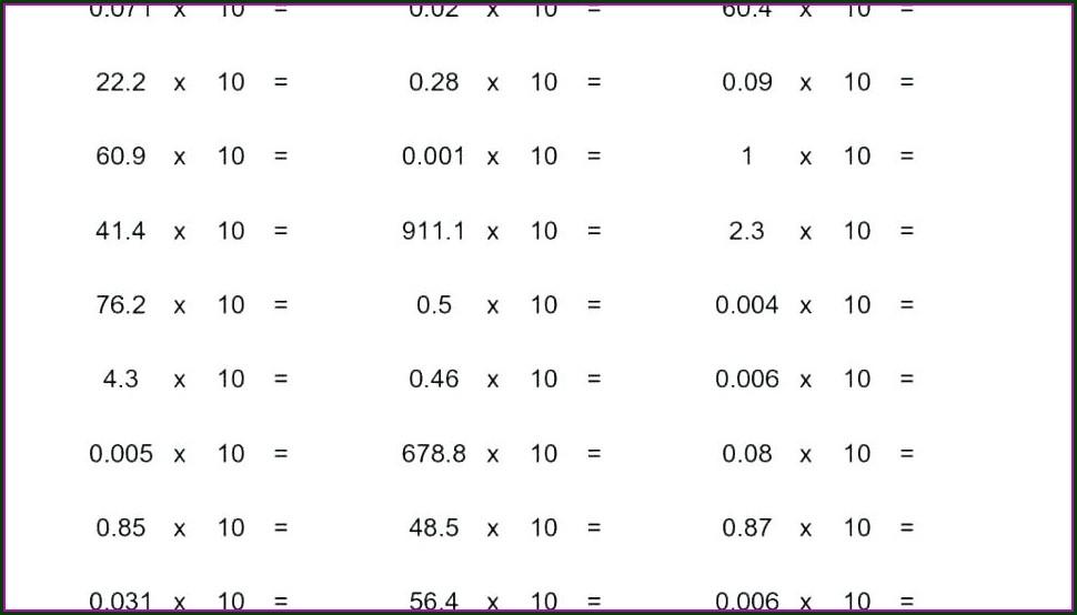Printable 5th Grade Math Worksheets Decimals
