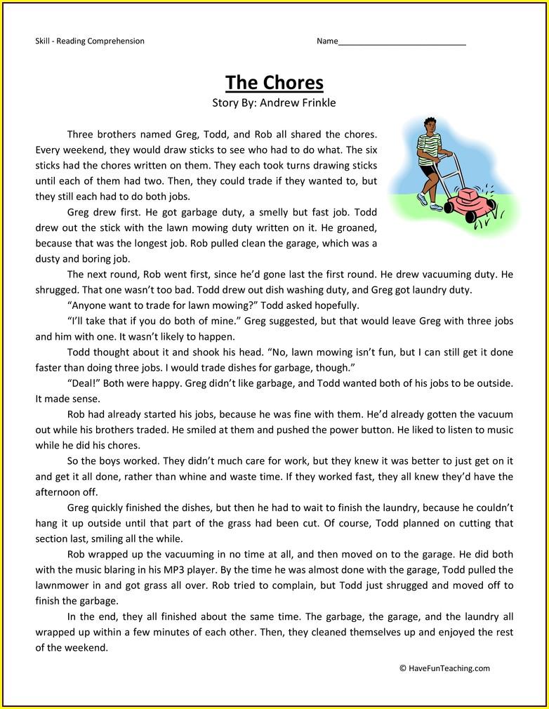 Printable 6th Grade Reading Comprehension Worksheets Pdf