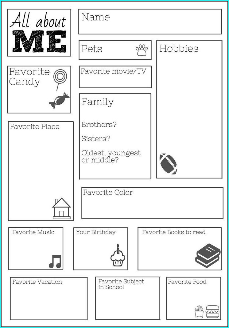Printable All About Me Worksheet Middle School