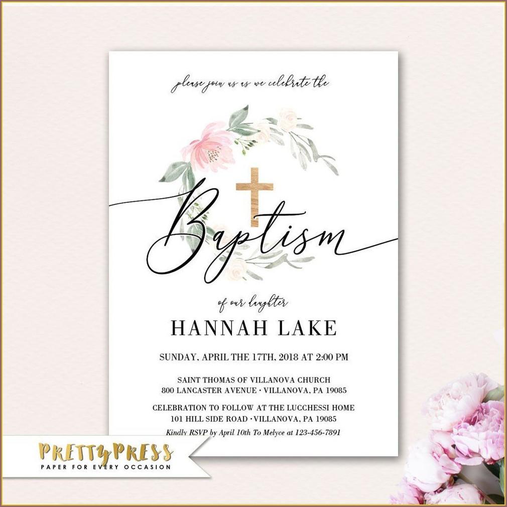 Printable Baptism Invitation Card