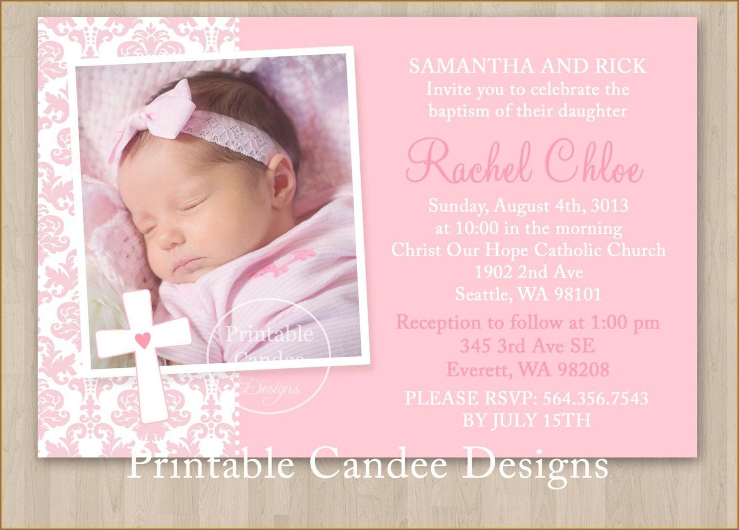 Printable Baptism Invitations Girl