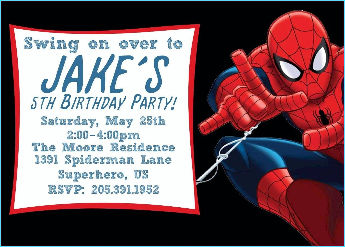 Printable Blank Free Editable Spiderman Birthday Invitation Templates