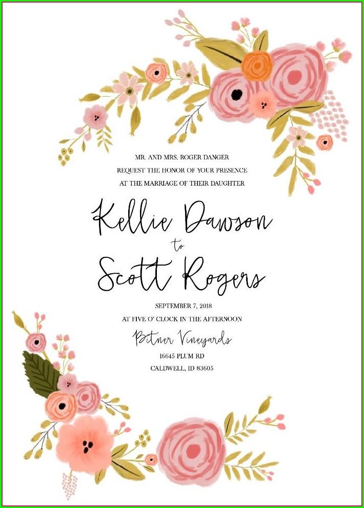 Printable Blank Peach Wedding Invitation Templates