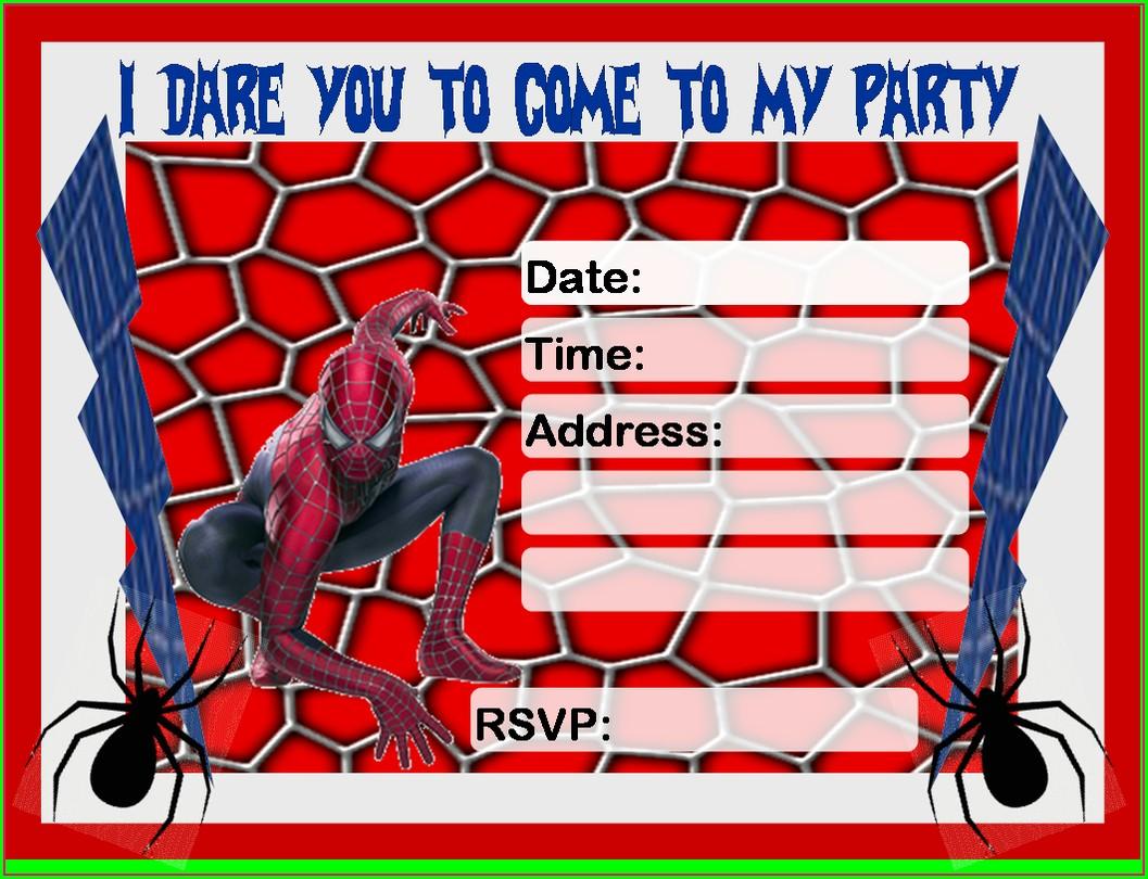 Printable Blank Spiderman Invitations