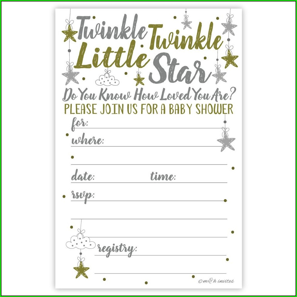 Printable Blank Twinkle Twinkle Little Star Invitation Template Free