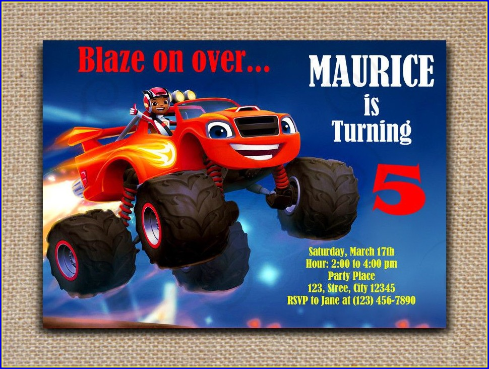 Printable Blaze And The Monster Machines Invitations Templates