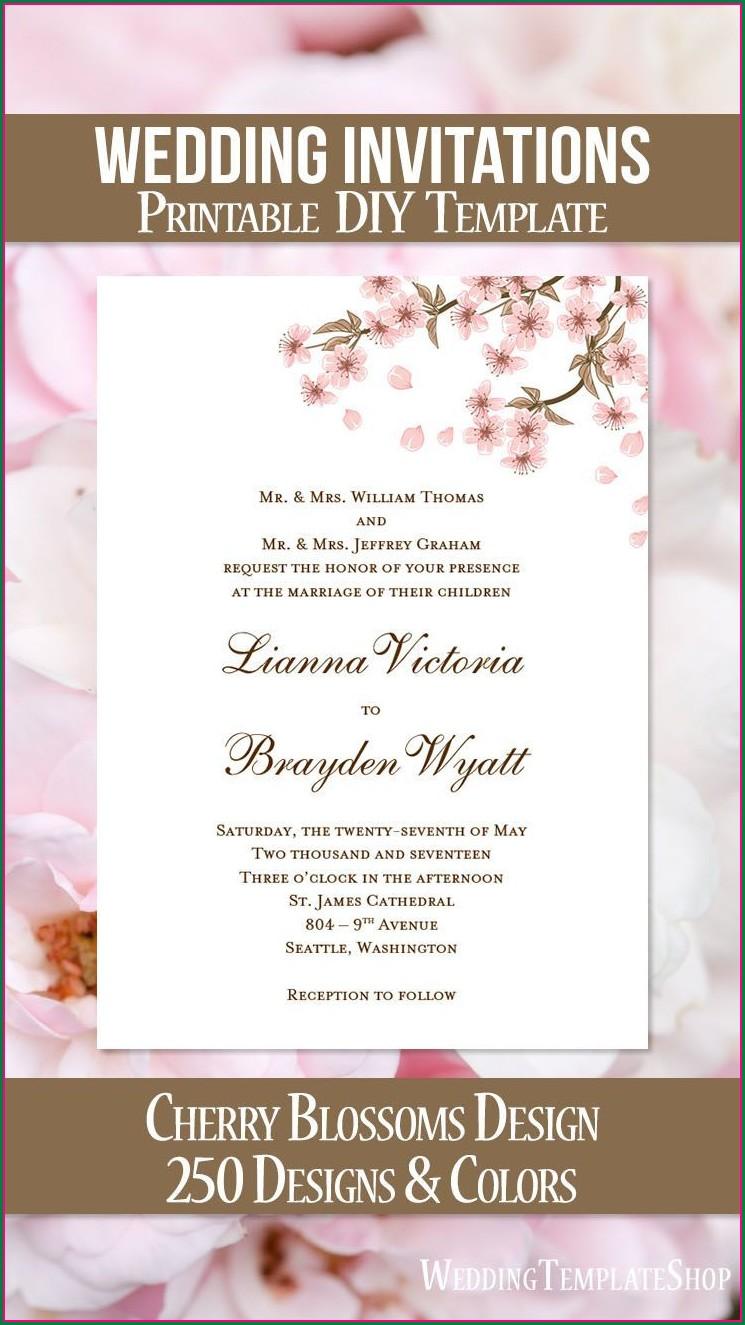 Printable Cherry Blossom Wedding Invitation