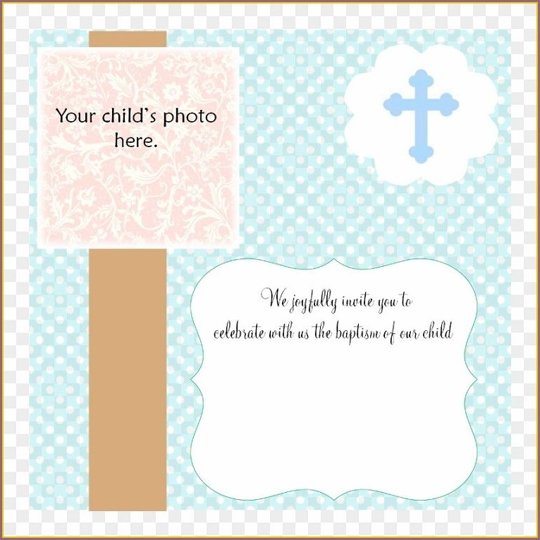 Printable Downloadable Baptism Invitation Blank Templates For Boy
