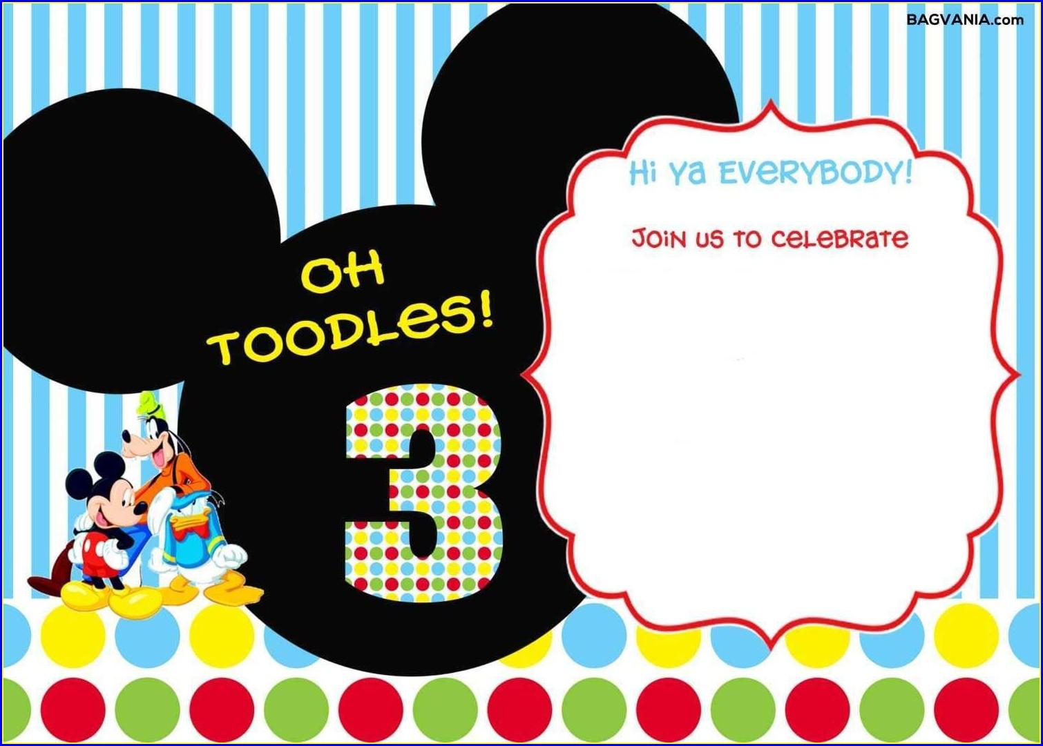 Printable Free Editable Mickey Mouse Birthday Invitations