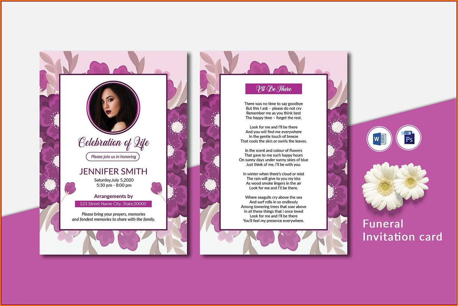 Printable Funeral Invitation Template Word