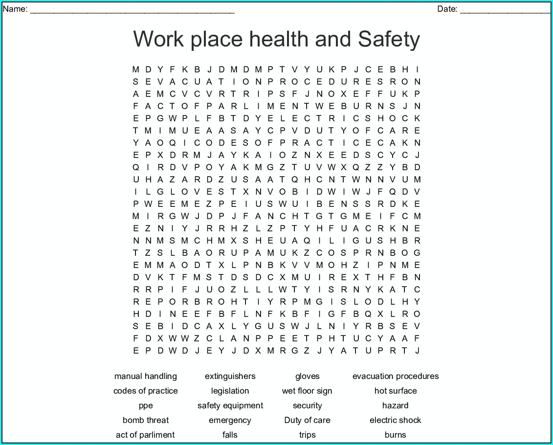 Printable Health And Safety Word Search