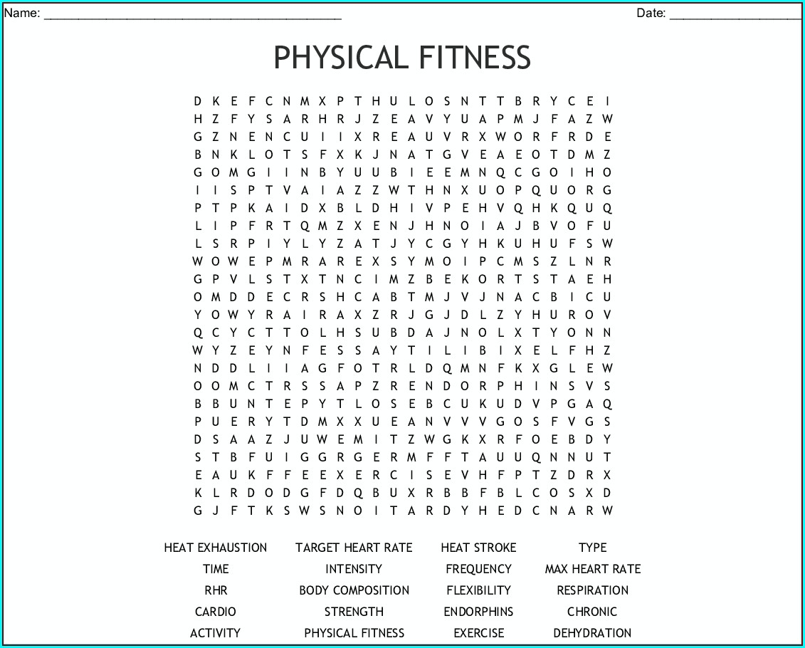 Printable Health And Wellness Word Search Puzzle