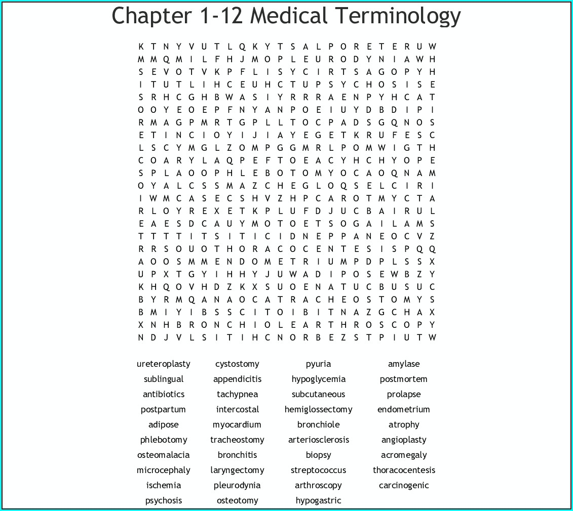 Printable Healthcare Word Search