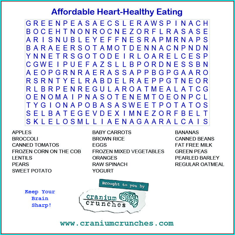 Printable Healthy Eating Word Search
