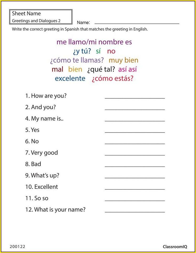 Printable Kindergarten Worksheets In Spanish