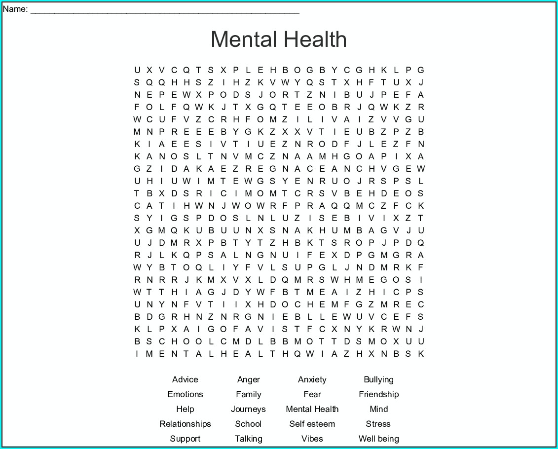 Printable Mental Health Word Search