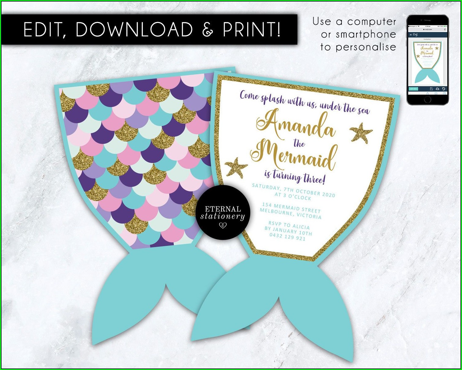 Printable Mermaid Tail Invitation Template