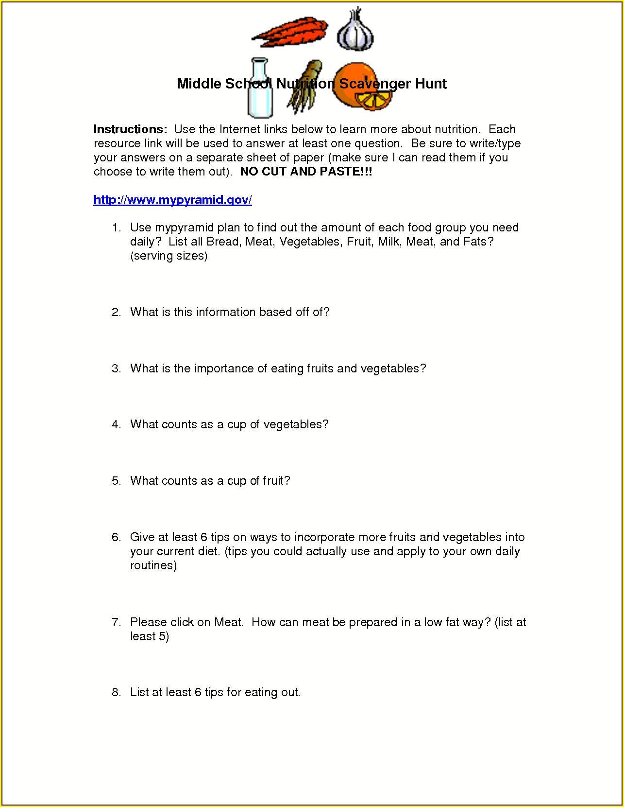 Printable Middle School Health Worksheets