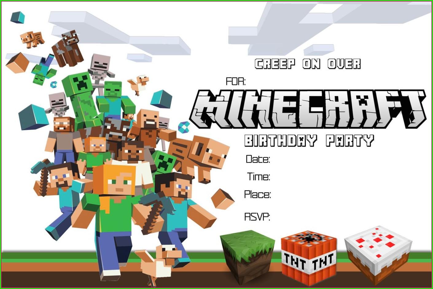Printable Minecraft Birthday Invitations