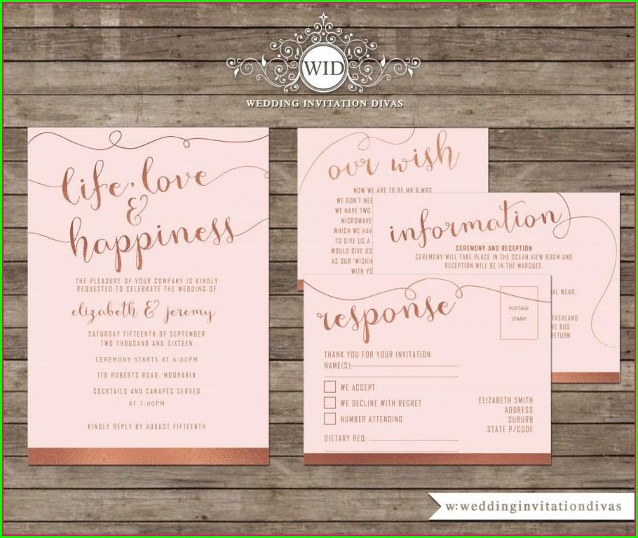 Printable Rose Gold Invitation Template Free