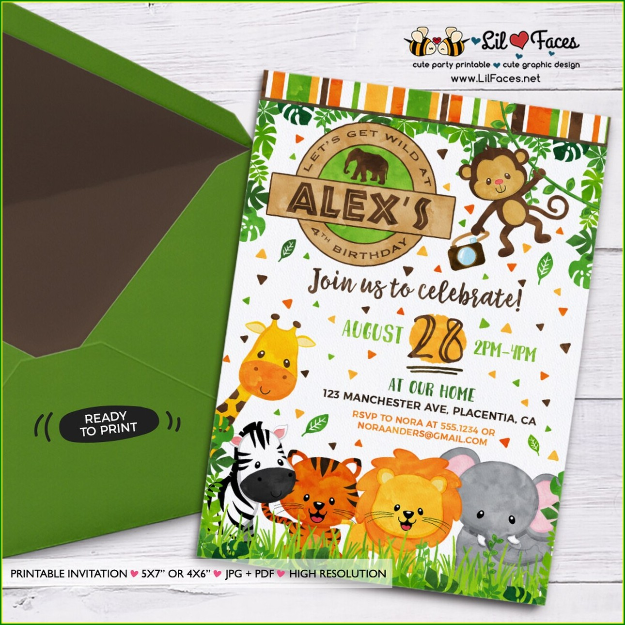 Printable Safari Jungle Invitations