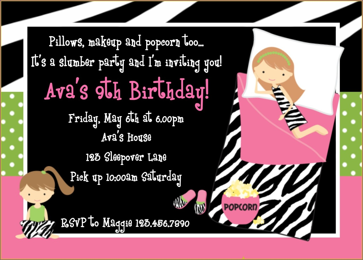 Printable Sleepover Birthday Party Invitations
