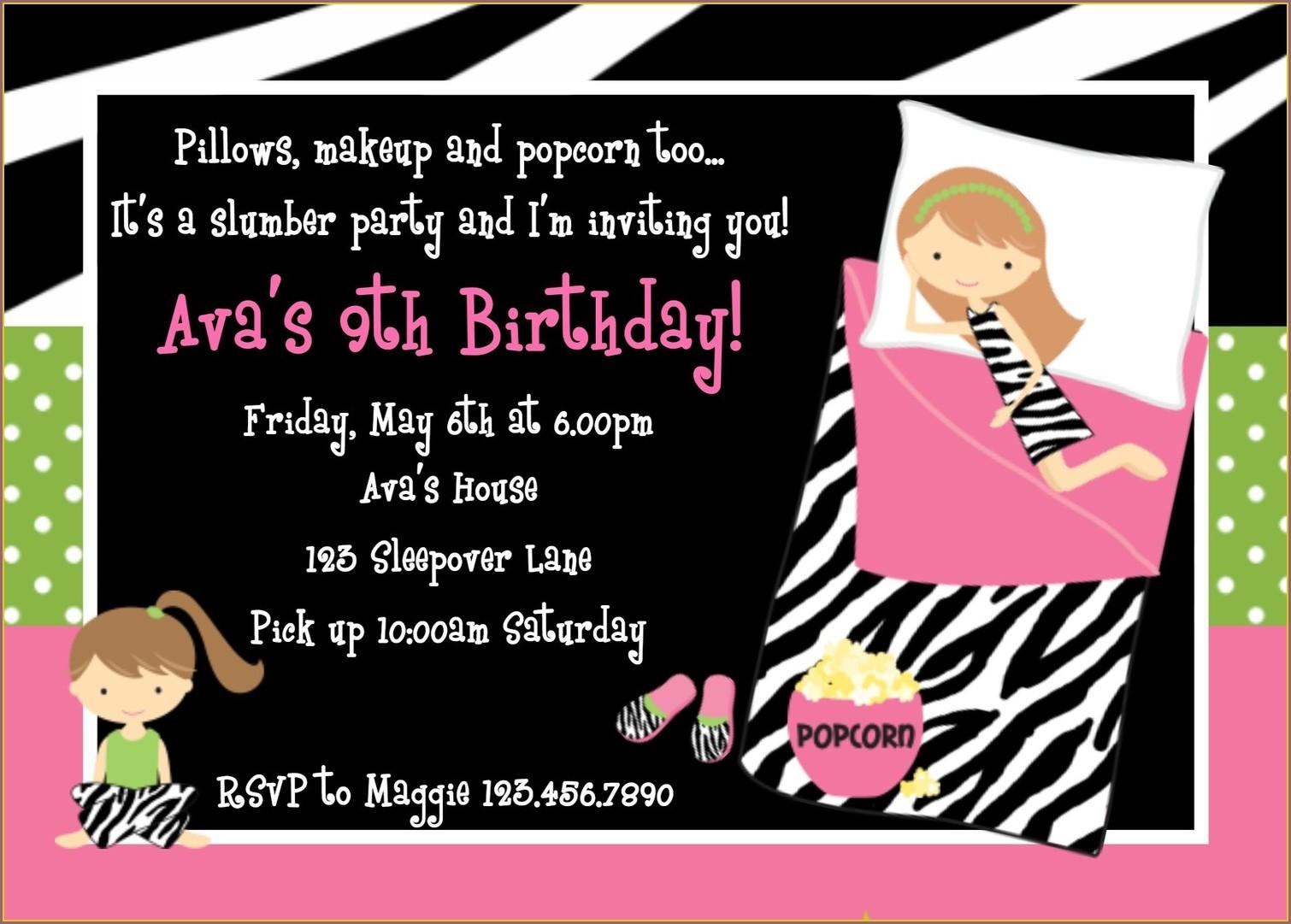 Printable Sleepover Birthday Party Invitations