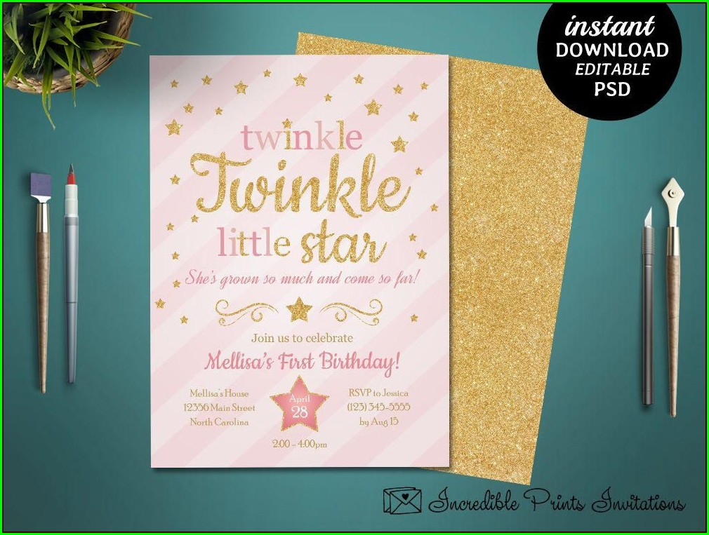 Printable Twinkle Little Star Invitation Template