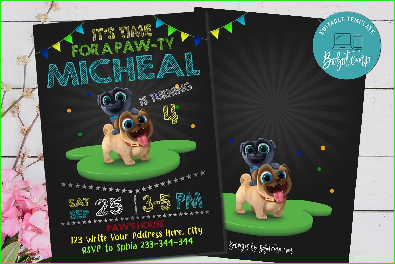 Puppy Dog Pals Invitation Template