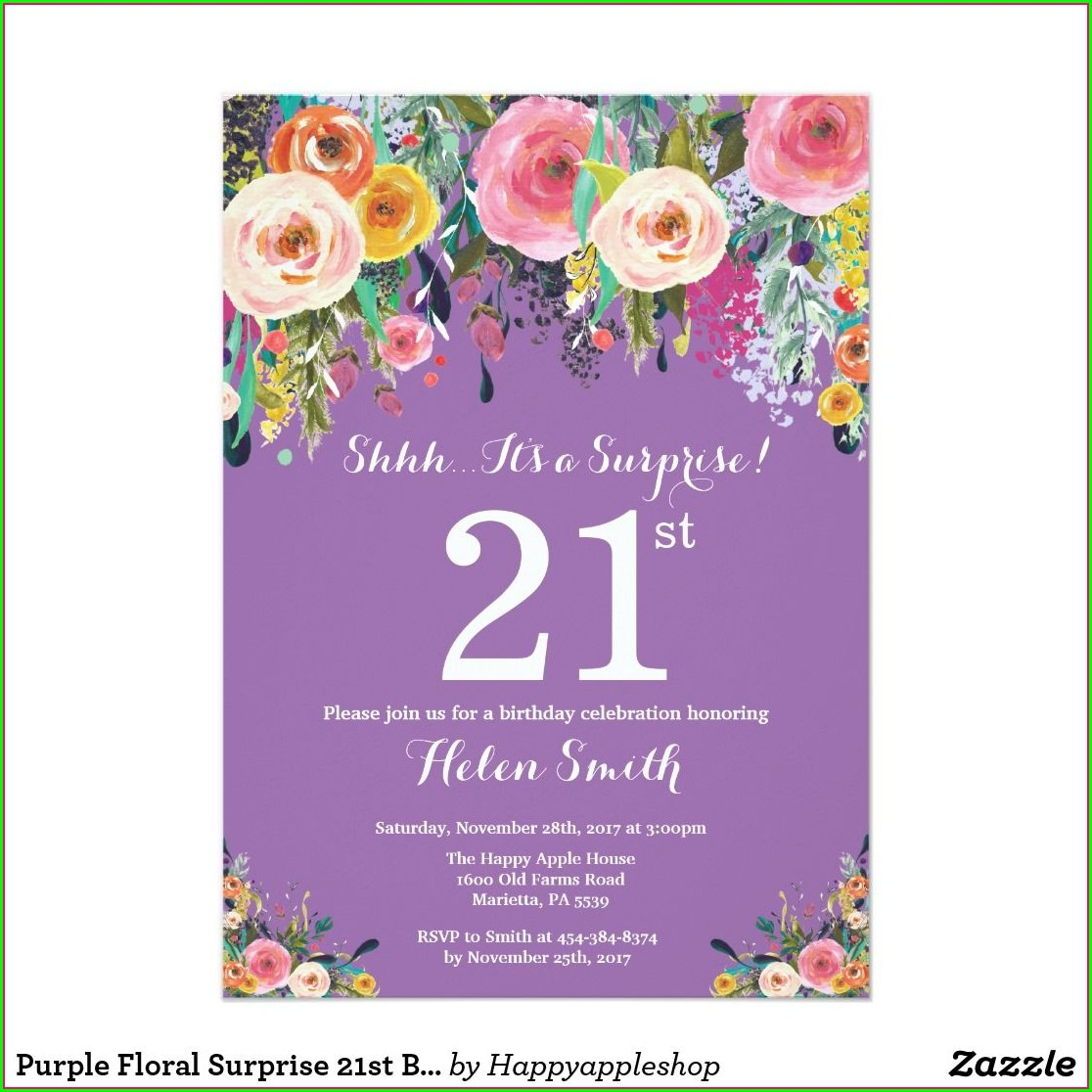 Purple 21st Birthday Invitations