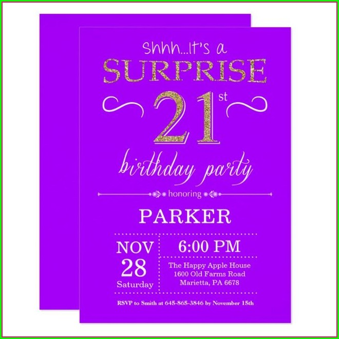 Purple And Gold Birthday Invitations