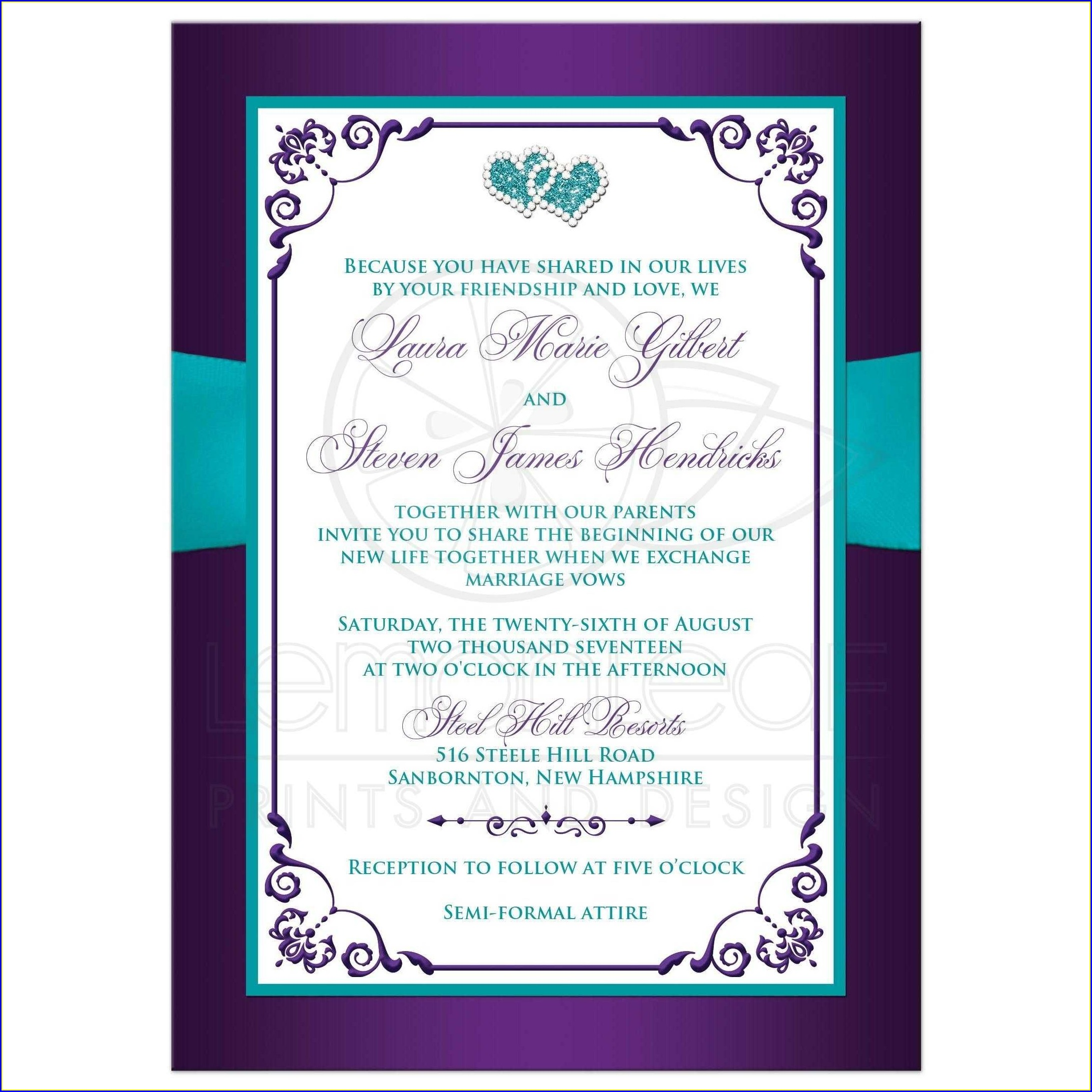 Purple And Turquoise Wedding Invitations