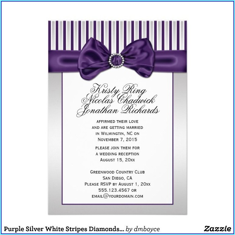 Purple And White Wedding Invitation Templates