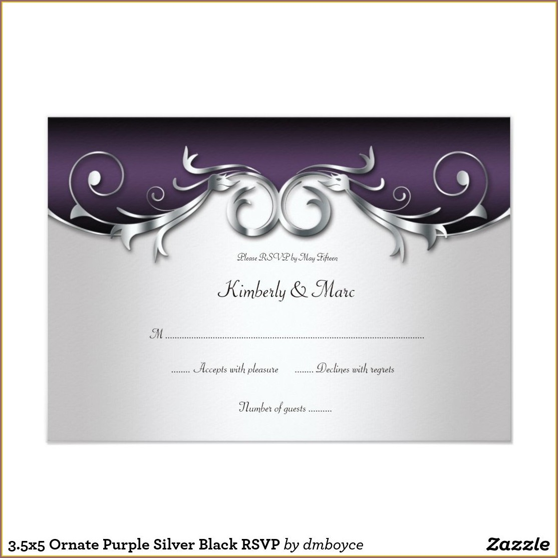 Purple Black Silver Wedding Invitations