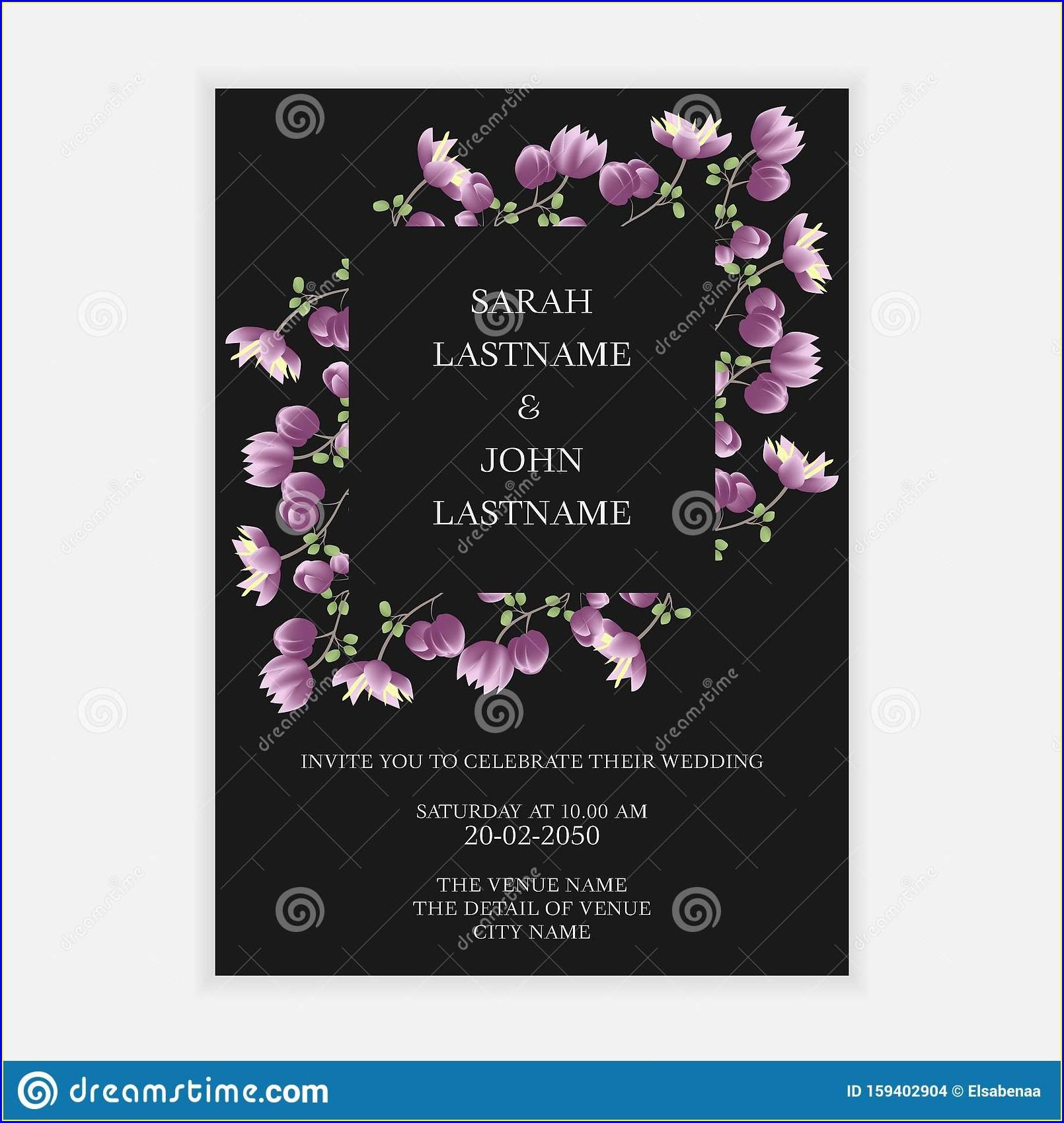 Purple Flower Invitation Template