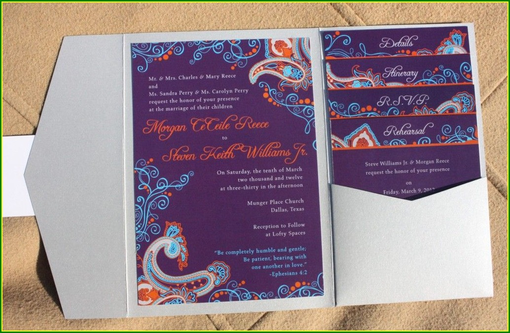 Purple Turquoise And Silver Wedding Invitations