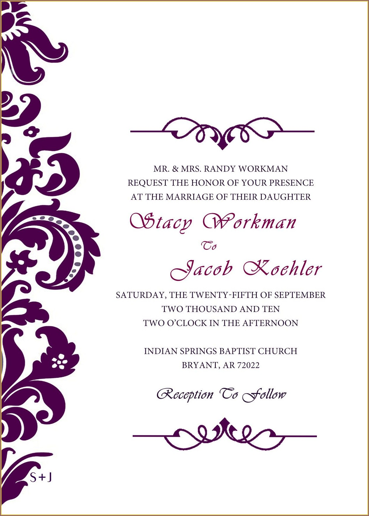 Purple Wedding Invitation Templates
