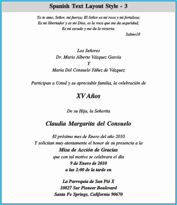 Quinceanera Invitation Wording In Spanish