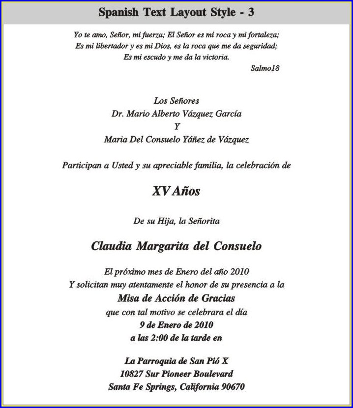 Quinceanera Invitation Wording Spanish