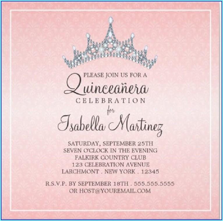 Quinceanera Invitations In English Wording