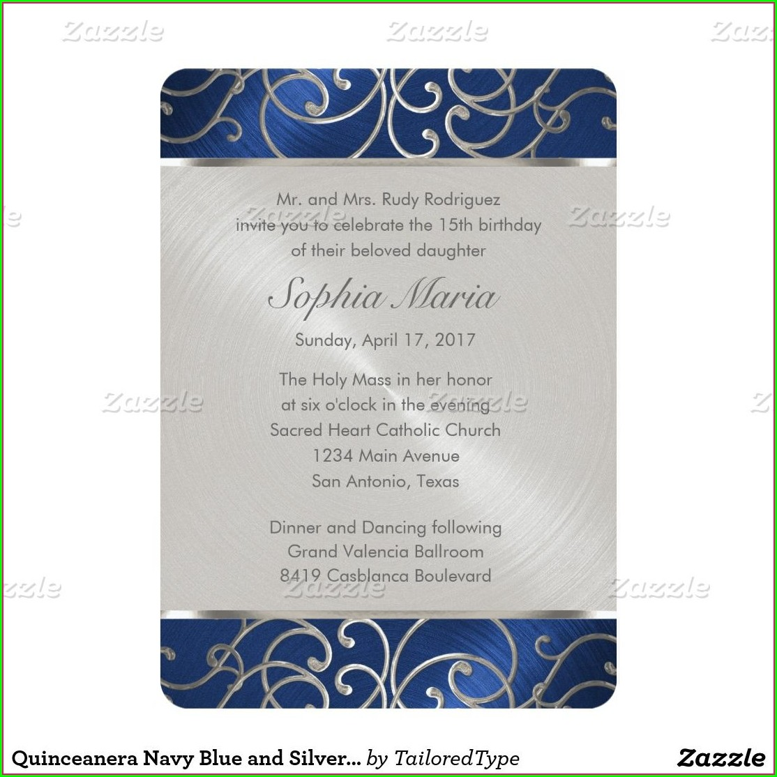 Quinceanera Invitations Navy Blue And Silver
