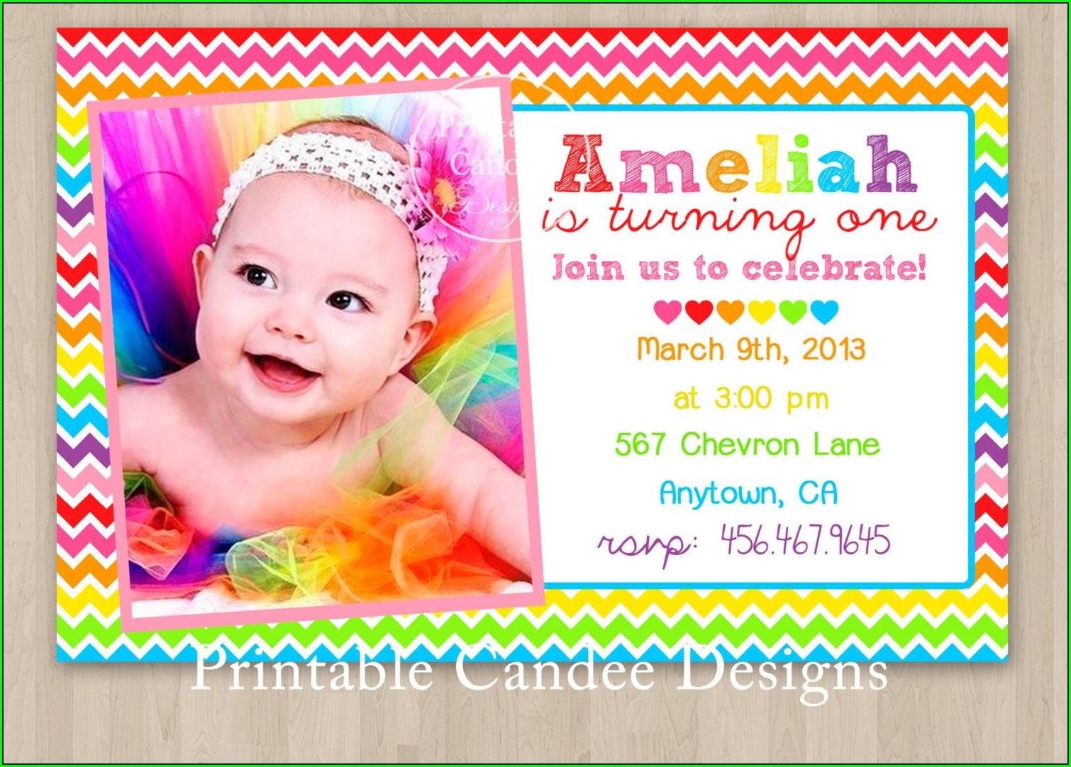 Rainbow Birthday Invitations With Photo