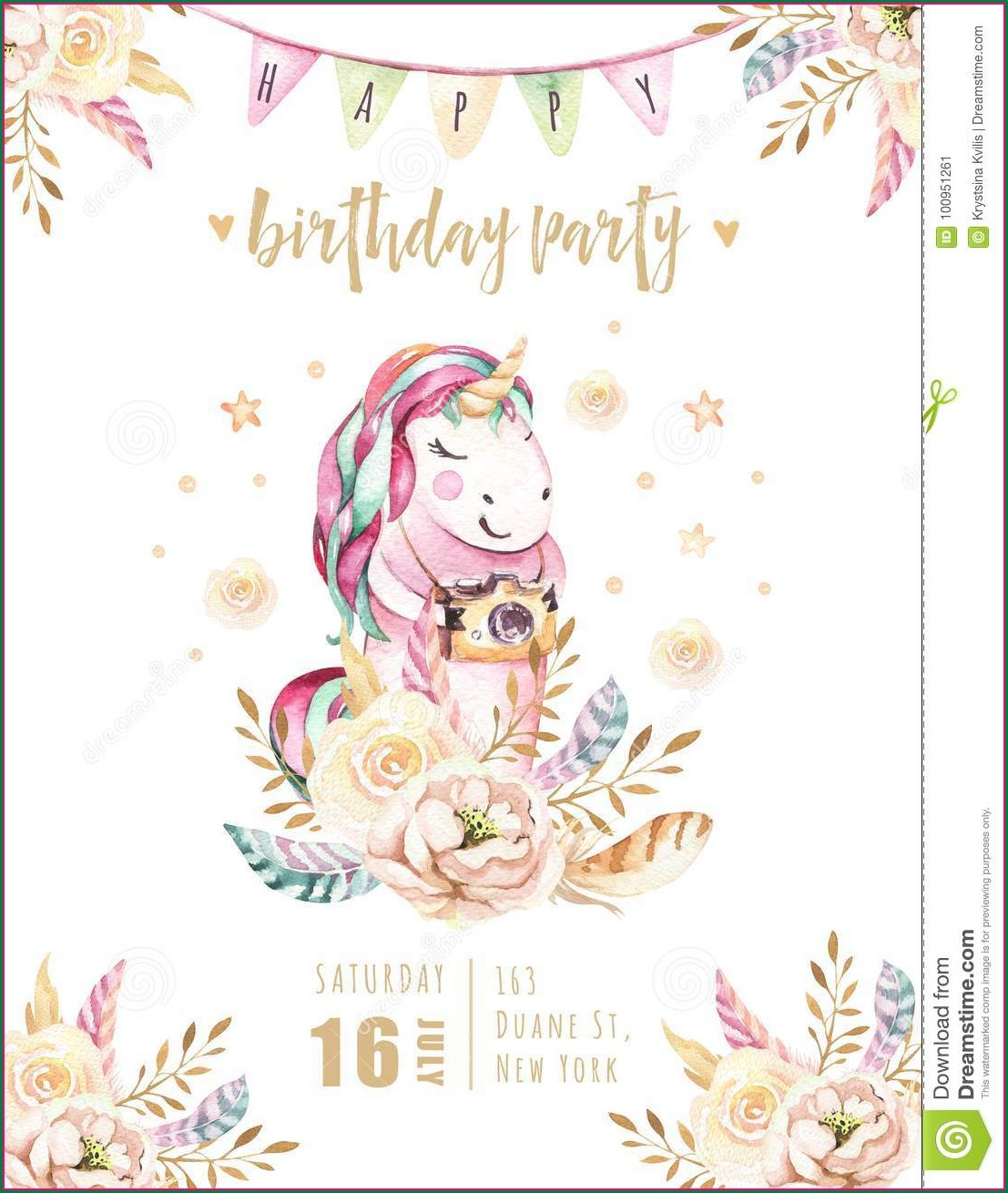 Rainbow Unicorn Invitation Card