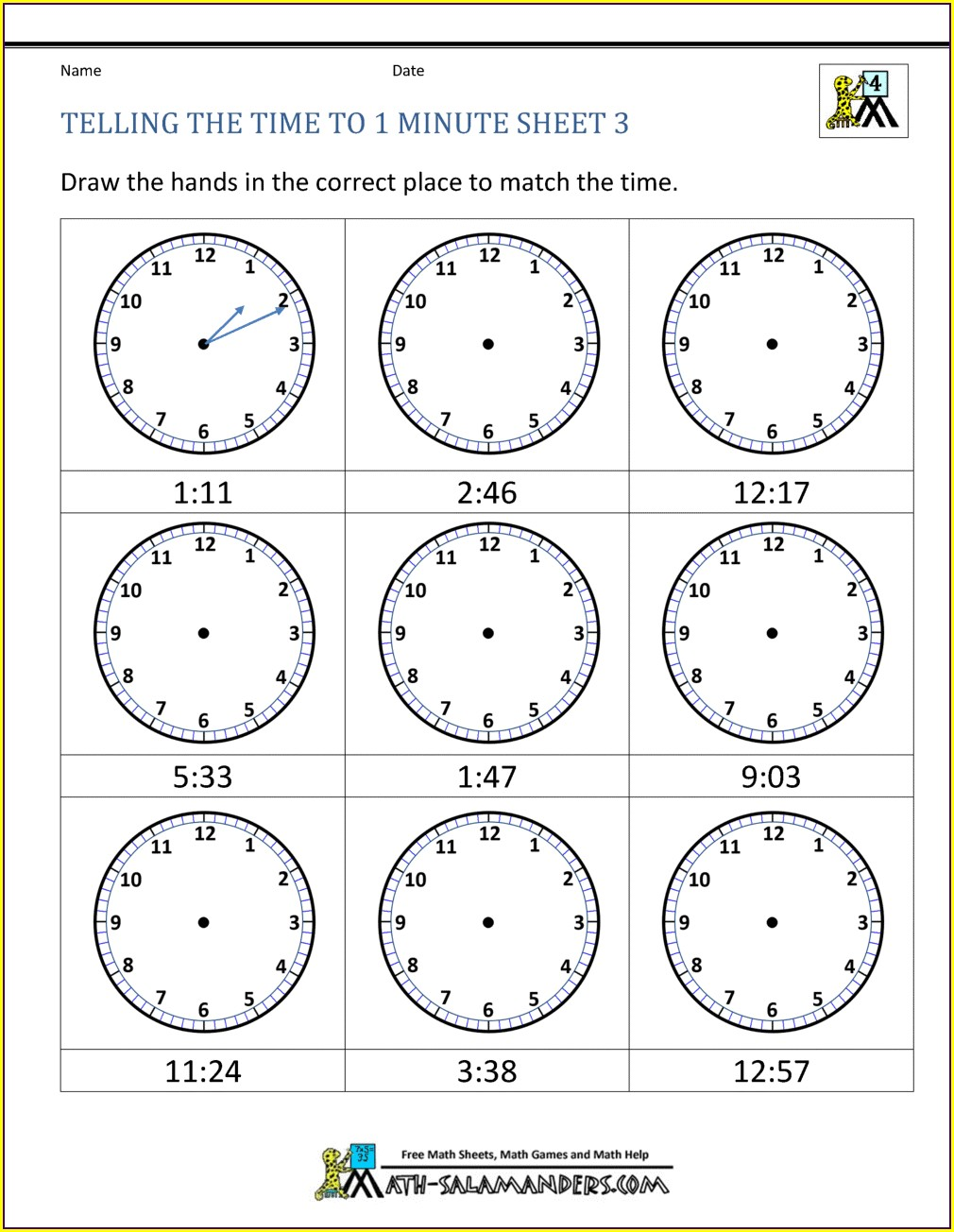 Reading Clock Times Worksheet