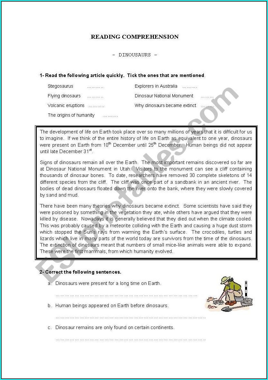 Reading Comprehension Worksheet Dinosaurs