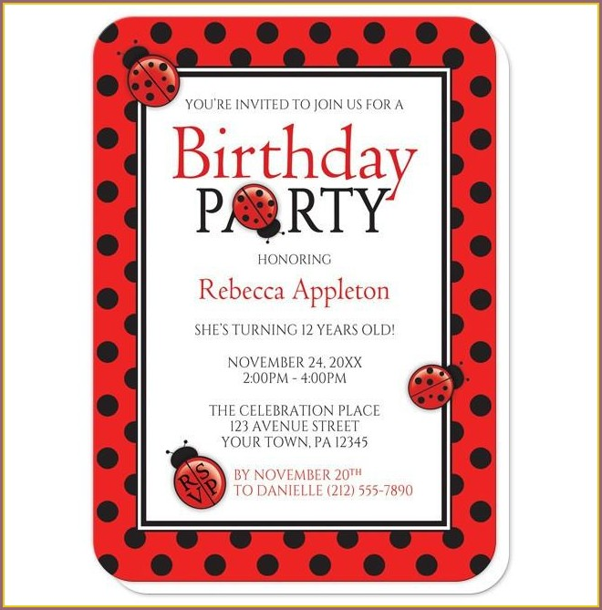 Red And Black Birthday Invitations