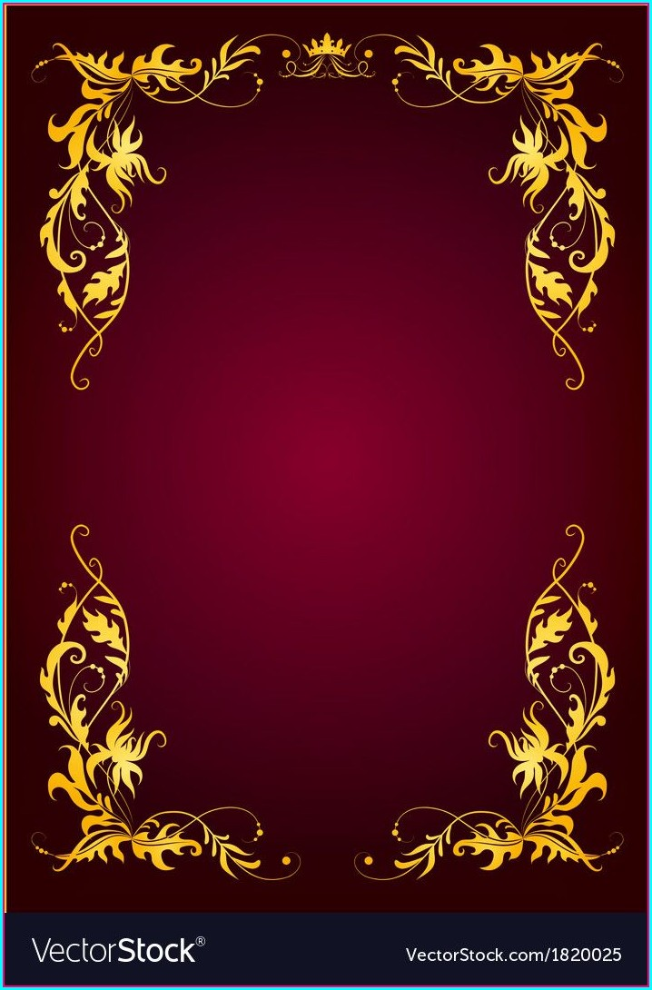 Red And Gold Wedding Invitation Blank Templates