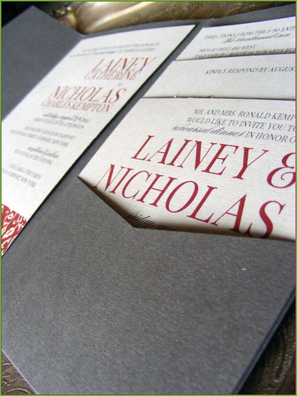 Red And Grey Wedding Invitations